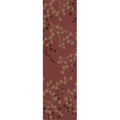 Dedrick Hand-Tufted Wool Plum/Merlot Area Rug Rug Size: Runner 26 x 8