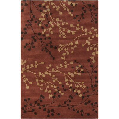 Dedrick Hand-Tufted Wool Plum/Merlot Area Rug Rug Size: Rectangle 36 x 56