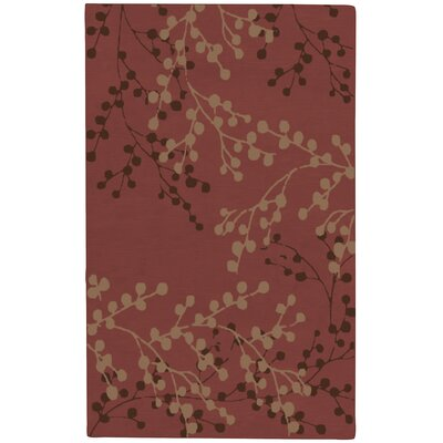 Dedrick Hand-Tufted Wool Plum/Merlot Area Rug Rug Size: Rectangle 5 x 79