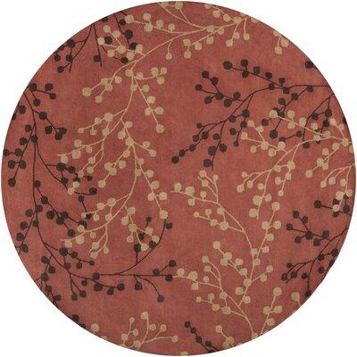 Dedrick Hand-Tufted Wool Plum/Merlot Area Rug Rug Size: Round 8