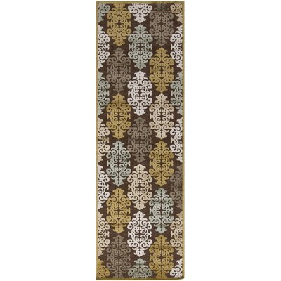 Caseyville Traditional Hand-Woven Brown/Pale Blue Area Rug Rug Size: Runner 26 x 71