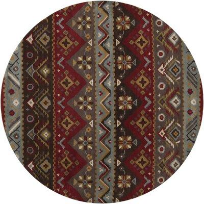 Co Bohemian Hand-Tufted Garnet/Plum Area Rug Rug Size: Round 8
