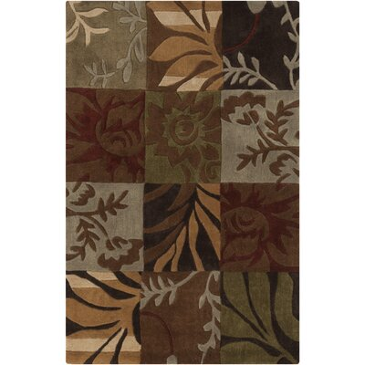 Funderburk Hand-Tufted Olive/Garnet Area Rug Rug Size: Rectangle 36 x 56