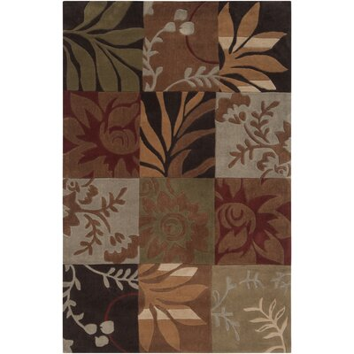 Funderburk Hand-Tufted Olive/Garnet Area Rug Rug Size: Rectangle 9 x 12