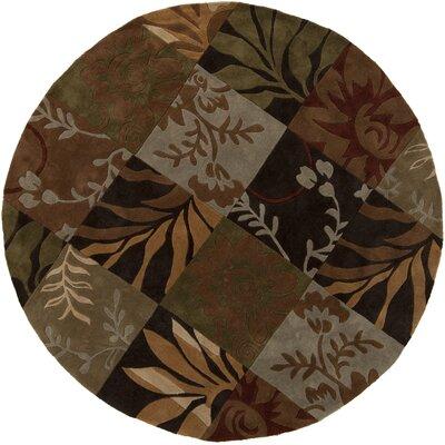 Funderburk Hand-Tufted Olive/Garnet Area Rug Rug Size: Round 8