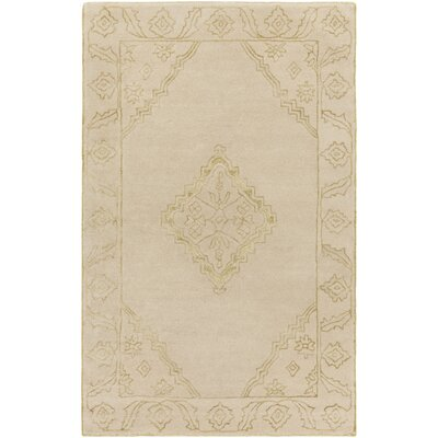 Tina Traditional Hand-Tufted Wool Beige/Gold Area Rug Rug Size: Rectangle 33 x 53