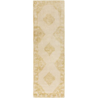 Tina Traditional Hand-Tufted Wool Beige/Gold Area Rug Rug Size: Runner 26 x 8