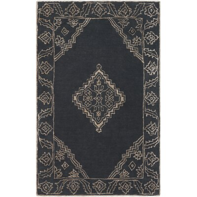 Tina Traditional Hand-Tufted Black/Khaki Area Rug Rug Size: Rectangle 5 x 8