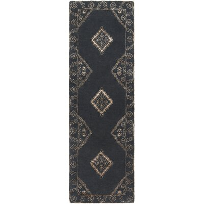Tina Traditional Hand-Tufted Black/Khaki Area Rug Rug Size: Runner 26 x 8