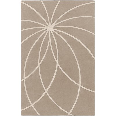 Carnahan Hand-Tufted Wool Khaki/Cream Area Rug Rug Size: Rectangle 6 x 9