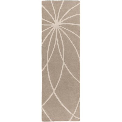 Carnahan Hand-Tufted Wool Khaki/Cream Area Rug Rug Size: Runner 3 x 12