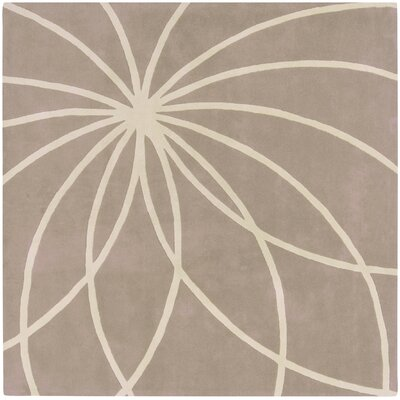 Carnahan Hand-Tufted Wool Khaki/Cream Area Rug Rug Size: Square 6