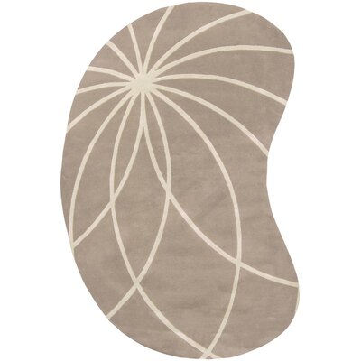 Carnahan Hand-Tufted Wool Khaki/Cream Area Rug Rug Size: Kidney 6 x 9