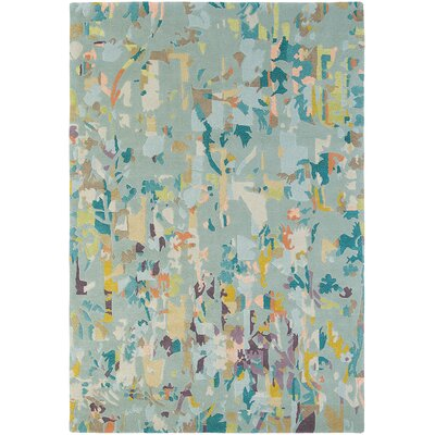 Letha Hand-Knotted Wool Pale Blue/Teal Area Rug Rug Size: Rectangle 47 x 67