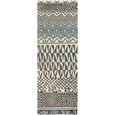 Thelma Hand-Knotted Wool Rectangle Beige/Light Gray Area Rug Rug Size: Rectangle 47 x 67