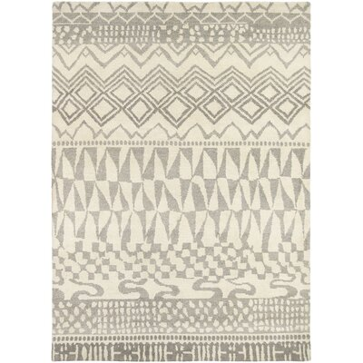 Thelma Hand-Knotted Wool Beige/Light Gray Area Rug Rug Size: Rectangle 57 x 710