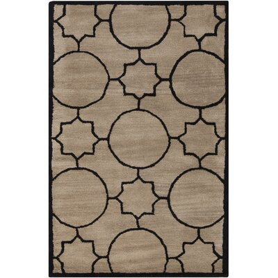 Lepus Geometric Hand-Tufted Wool Tan/Black Area Rug Rug Size: Rectangle 36 x 56