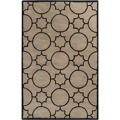 Lepus Geometric Hand-Tufted Wool Tan/Black Area Rug Rug Size: Rectangle 5 x 79
