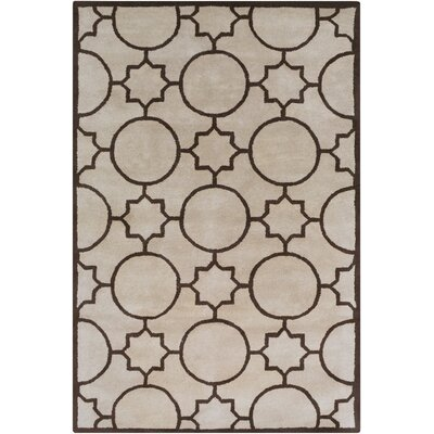 One-of-a-Kind Lepus Geometric Hand-Tufted Wool Tan/Brown Area Rug Rug Size: Rectangle 5 x 79
