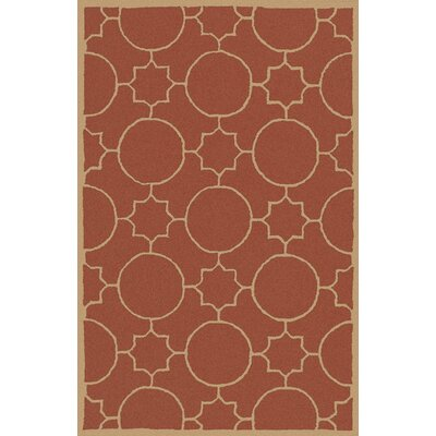Lepus Geometric Hand-Tufted Wool Burnt Orange/Wheat Area Rug Rug Size: Rectangle 36 x 56