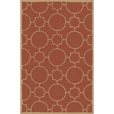 Lepus Geometric Hand-Tufted Wool Burnt Orange/Wheat Area Rug Rug Size: Rectangle 8 x 10