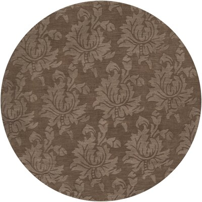 Ardal Hand-Woven Wool Coffee/Mocha Area Rug Rug Size: Round 8
