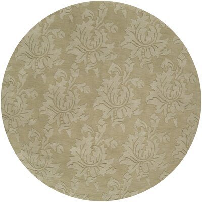 Ardal Hand-Woven Wool Sage/Crocodile Area Rug Rug Size: Round 8