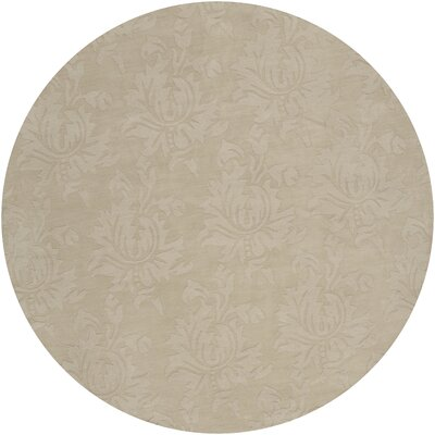 Ardal Hand-Woven Wool Beige Area Rug Rug Size: Round 8