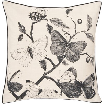 Swanson Decorative Butterfly Synthetic Throw Pillow Size: 22 x 22, Color: Ivory, Fill Material: Down