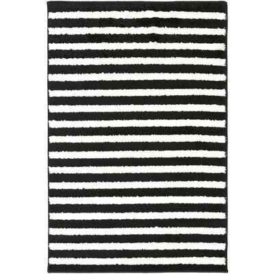 Petite Stripe Hand-Woven Slate/Pearl Area Rug Rug Size: Rectangle 2 x 3
