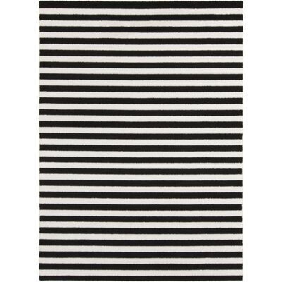 Petite Stripe Hand-Woven Slate/Pearl Area Rug Rug Size: Rectangle 710 x 103