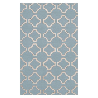Droitwich Geometric Hand Tufted Wool Sky Blue Area Rug Rug Size: 2 x 3