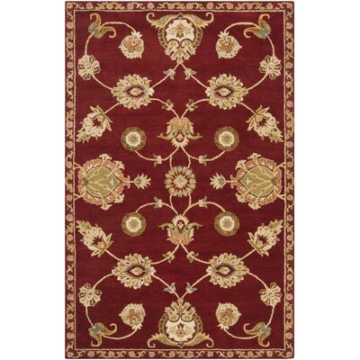 Vesta Burgundy & Yellow Area Rug Rug Size: 5 x 8