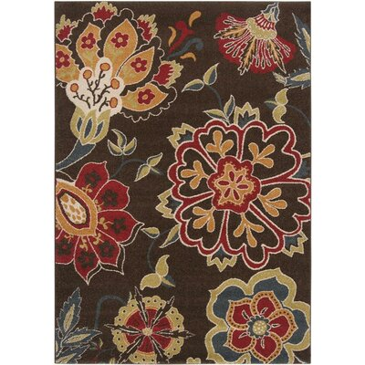 Mya Orange & Brown Area Rug Rug Size: 53 x 76