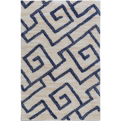 Ameila Geometric Handmade Light Gray & Navy Area Rug Rug Size: 2 x 3