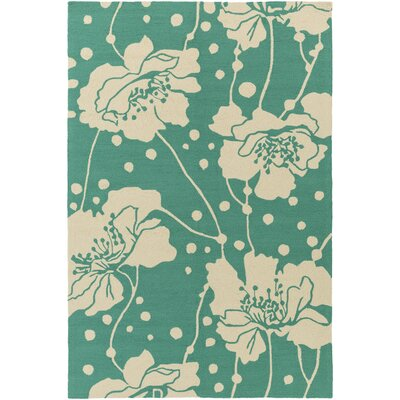 Bondi Beach Aqua/Ivory Indoor/Outdoor Area Rug Rug Size: Rectangle 9 x 12