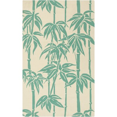 Bondi Beach Ivory/Green Indoor/Outdoor Area Rug Rug Size: Rectangle 9 x 12
