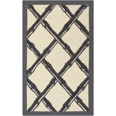 Bondi Beach Ivory/Black Indoor/Outdoor Area Rug Rug Size: Rectangle 9 x 12