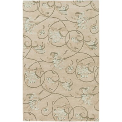 Goa Hand-Tufted Light Gray/Moss Floral Area Rug Rug Size: 2 x 3