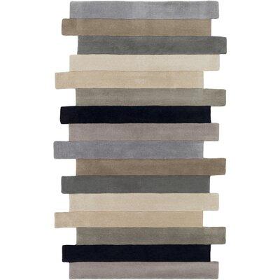 Geometrix Hand-Tufted Charcoal Area Rug Rug Size: 2 x 3