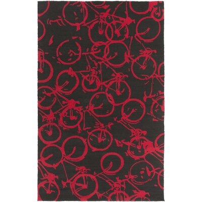 Pandemonium Black/Red Indoor/Outdoor Area Rug Rug Size: Rectangle 9 x 12