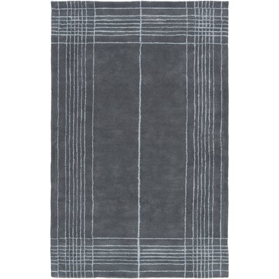 Penthouse Border Hand-Tufted Slate Area Rug Rug Size: 5 x 8