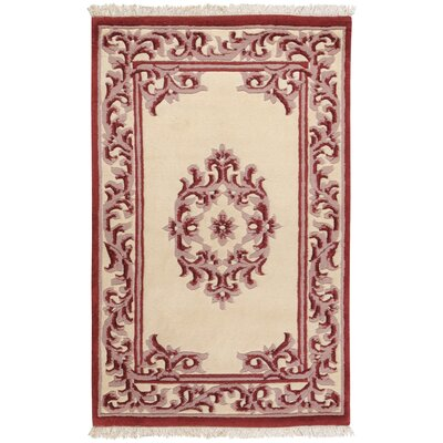Bengal Burgundy/Ivory Area Rug Rug Size: Rectangle 36 x 56