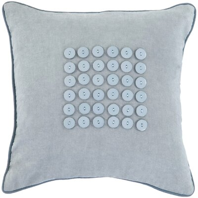 Khan Button 100% Cotton Throw Pillow Color: Aquamarine/Aqua, Fill Material: Polyester