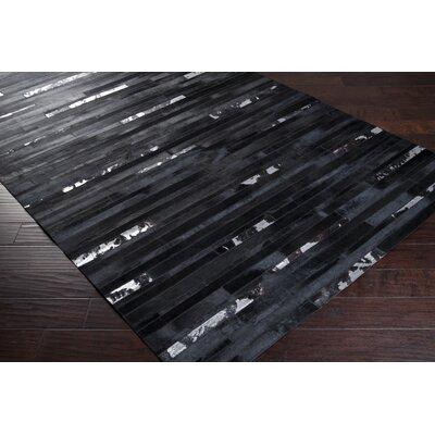 Camilla Hand-Woven Dark Black/White Area Rug Rug Size: 5 x 8