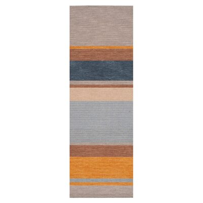 Calvin Amber/Elephant Gray Striped Area Rug Rug Size: Runner 26 x 8