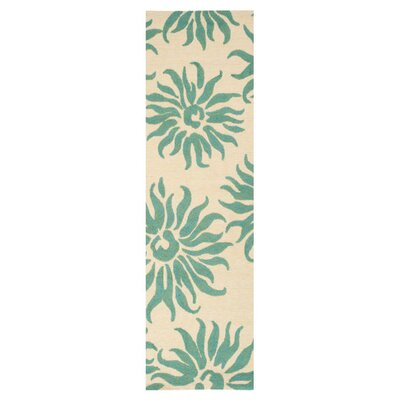 Waters Teal/Green Area Rug Rug Size: Runner 26 x 8