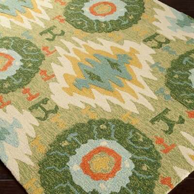 Braelynn Hand-Hooked Forest Green Indoor/Outdoor Area Rug Rug Size: Rectangle 8 x 106