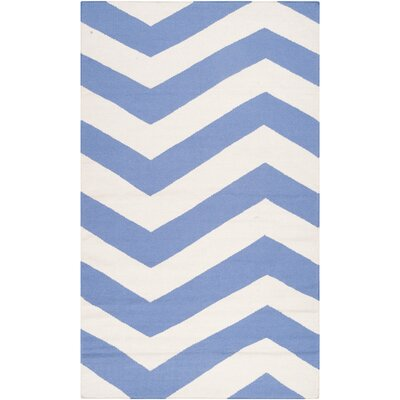 Dickerson Periwinkle/White Chevron Area Rug Rug Size: Rectangle 36 x 56