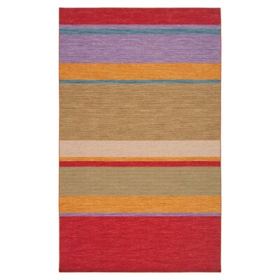 Carressa Red/Khaki Green Striped Area Rug Rug Size: Rectangle 2 x 3